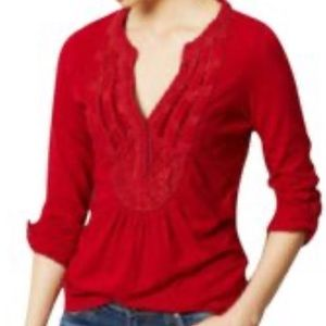 Anthropologie Meadow Rue Ansonia Top Red size : L